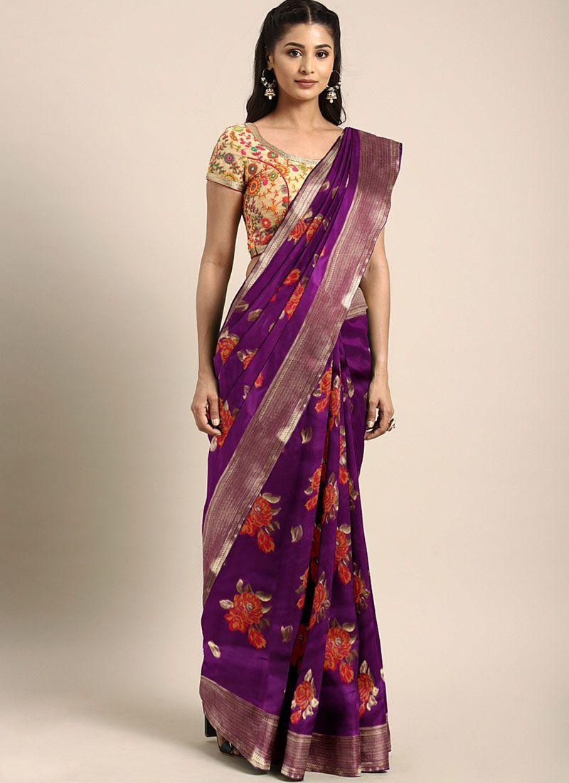 Weaving Art Silk Violet Casual Saree