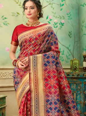 Weaving Banarasi Silk Blue and Red Silk Saree