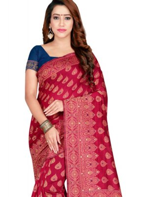 Weaving Banarasi Silk Classic Saree in Pink