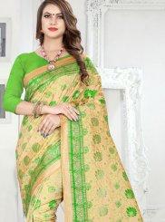 Weaving Banarasi Silk Gold and Green Silk Saree