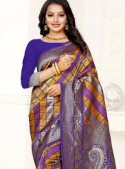 Weaving Banarasi Silk Multi Colour Trendy Saree