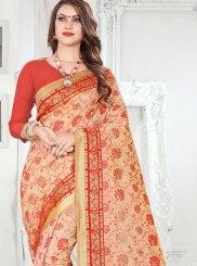 Weaving Banarasi Silk Silk Saree in Orange