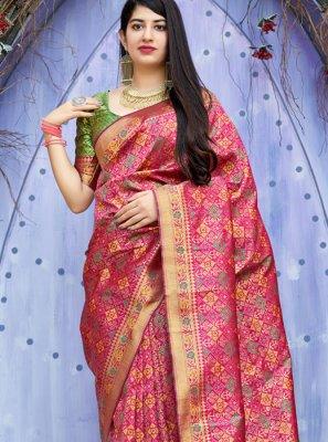 Weaving Banarasi Silk Traditional Saree in Hot Pink