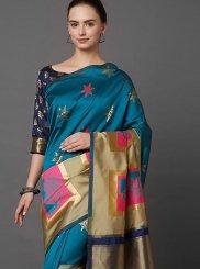 Weaving Beige and Blue Classic Designer Saree