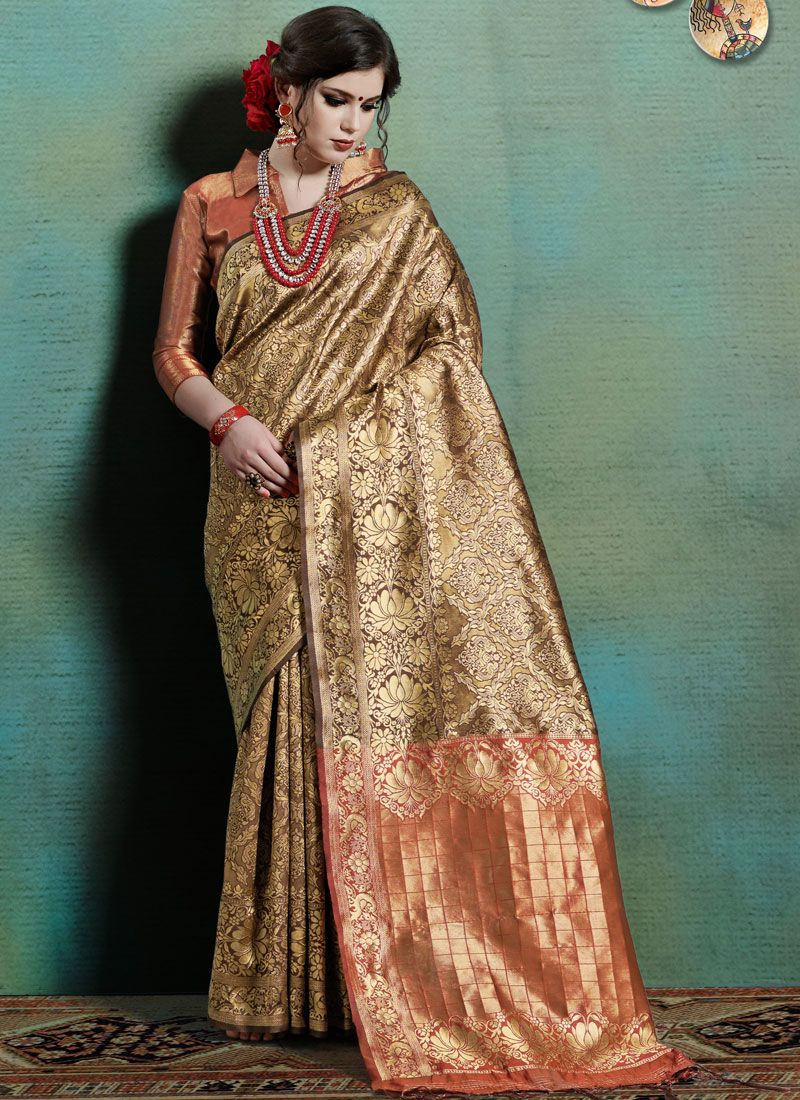 Weaving Beige Art Silk Designer Traditional Saree