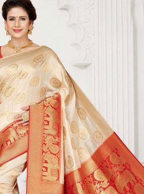 Weaving Beige Art Silk Designer Traditional Saree