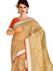 Weaving Beige Designer Traditional Saree