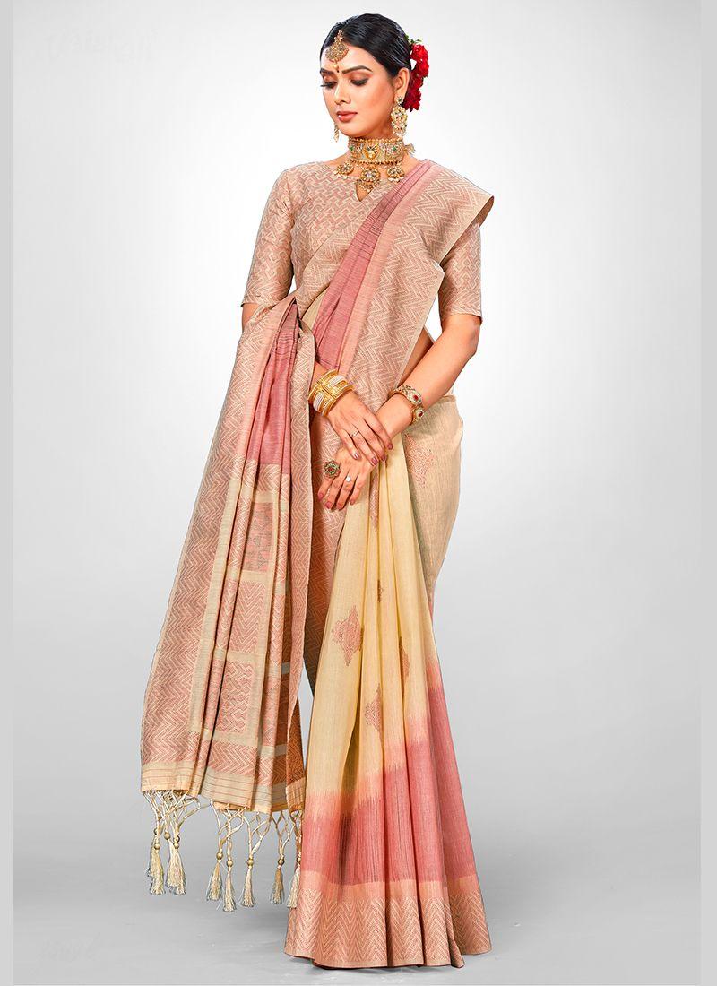 Weaving Beige Jacquard Silk Designer Traditional Saree