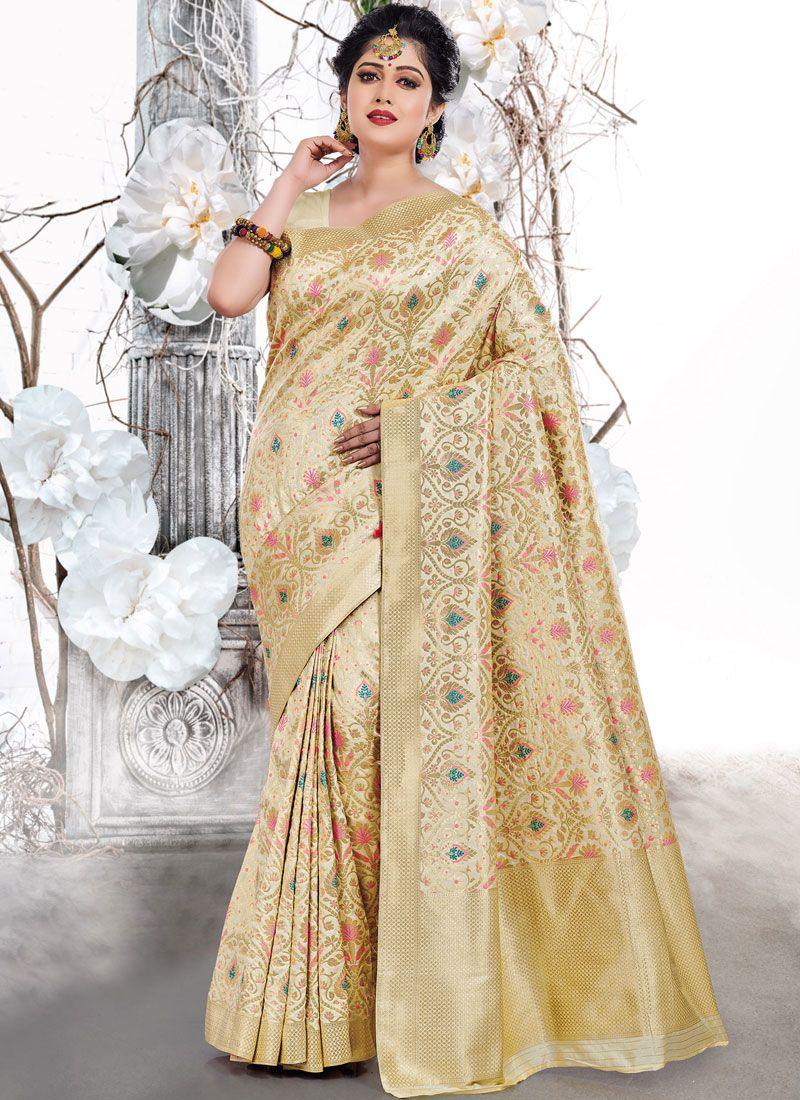 Weaving Beige Traditional Saree