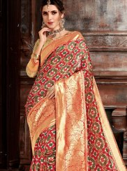 Weaving Bhagalpuri Silk Designer Saree in Red