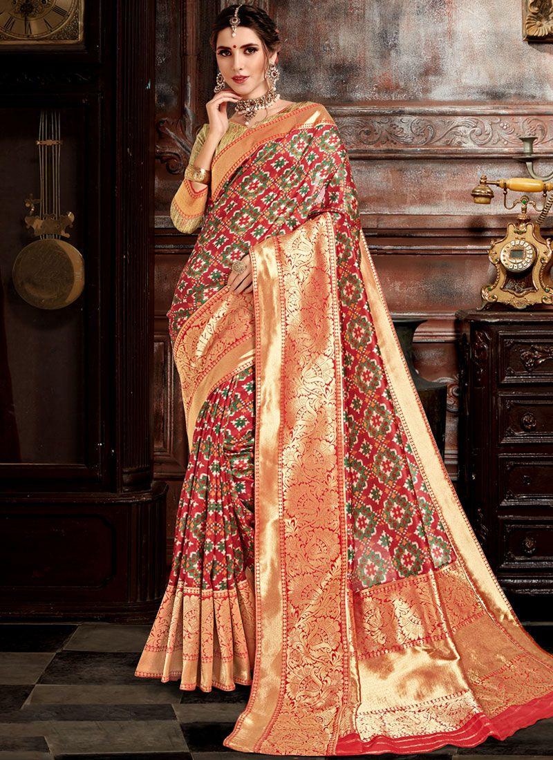 Weaving Bhagalpuri Silk Designer Saree in Red