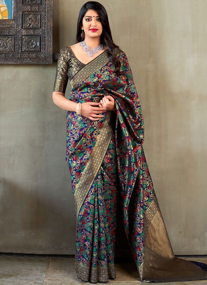 Weaving Black and Blue Trendy Saree