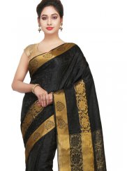 Weaving Black Art Silk Traditional Designer Saree