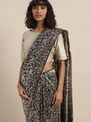 Weaving Black Art Silk Trendy Saree