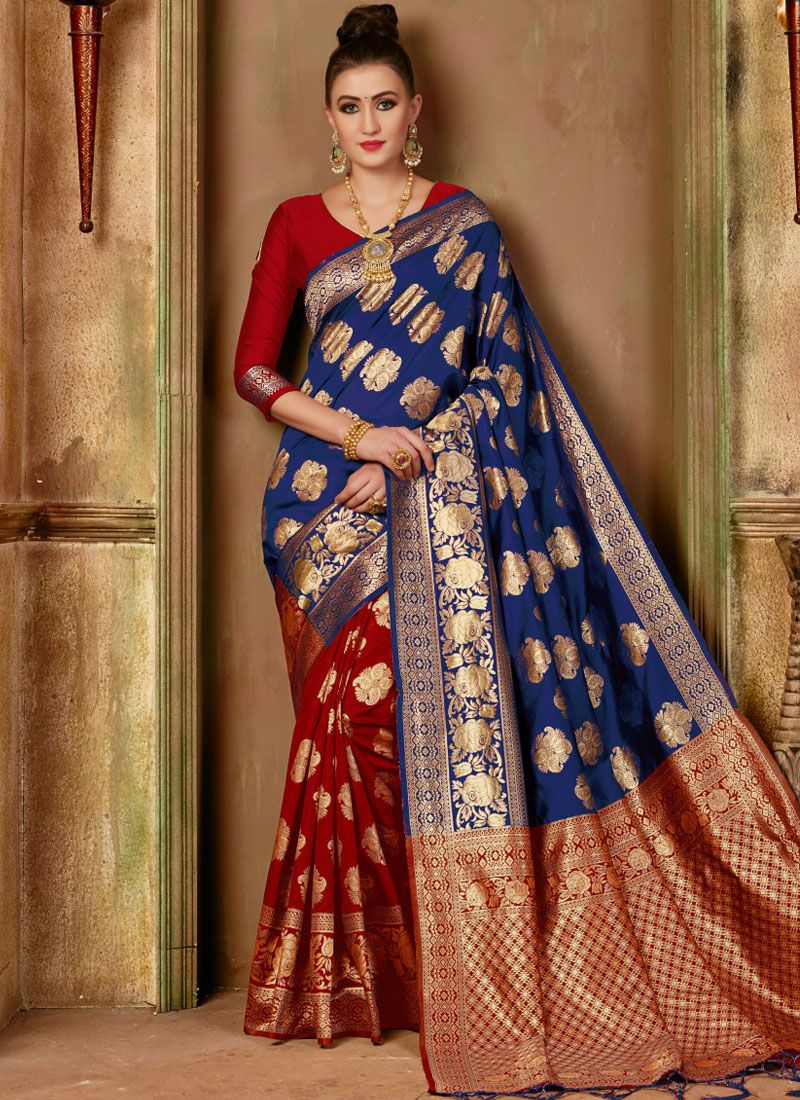 Weaving Blue and Red Traditional Designer Saree