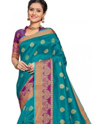 Weaving Blue Art Silk Traditional Designer Saree