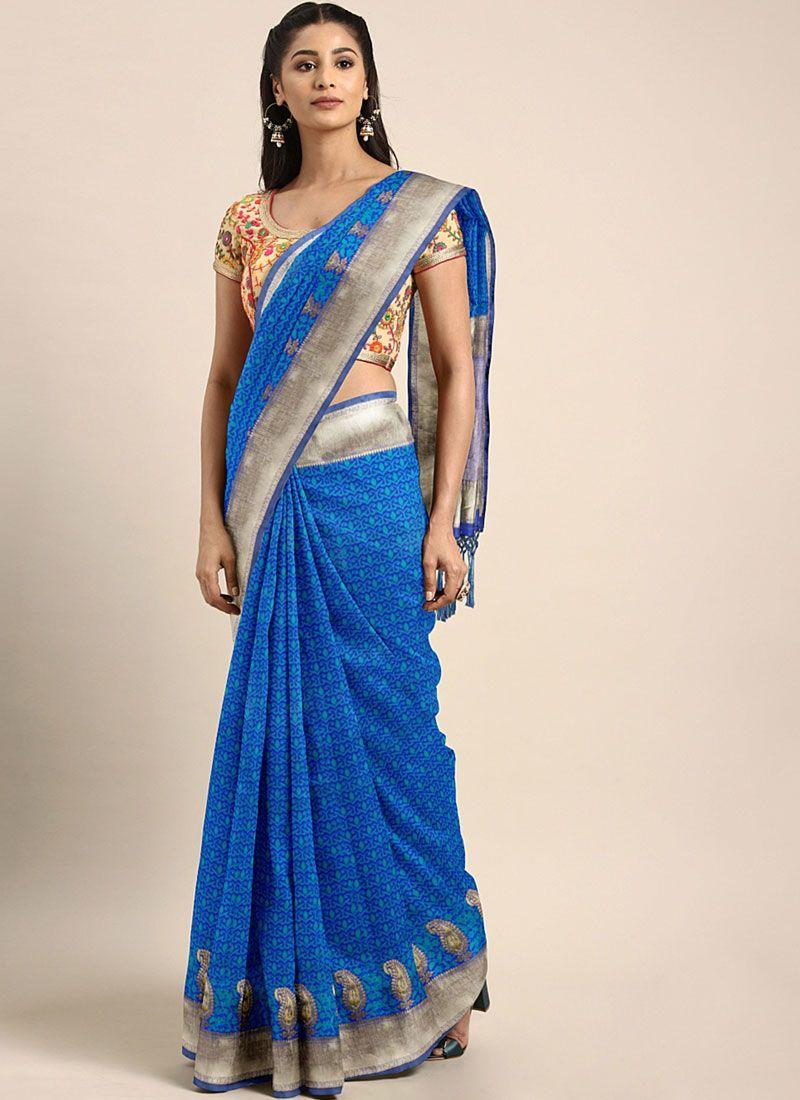 Weaving Blue Art Silk Traditional Designer Saree