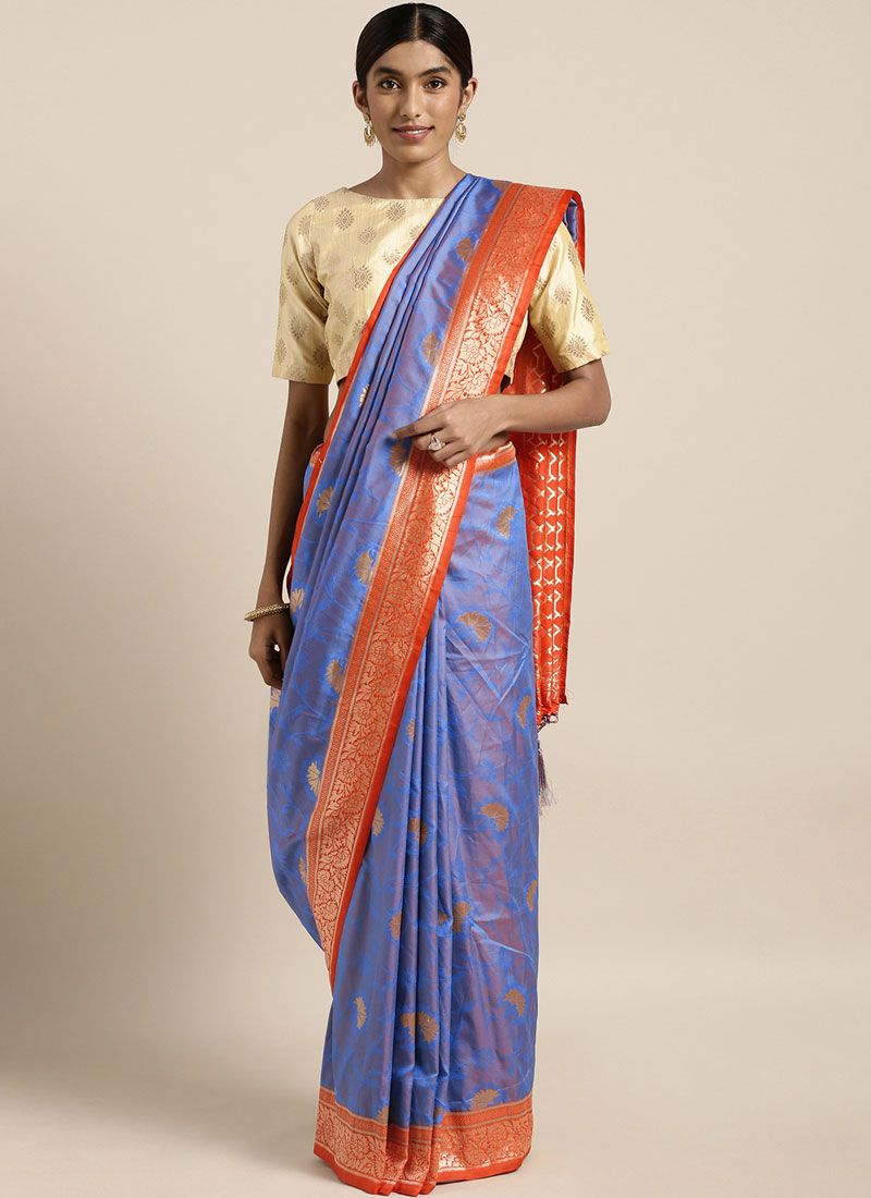 Weaving Blue Art Silk Traditional Saree