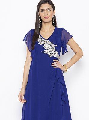Weaving Blue Designer Kurti