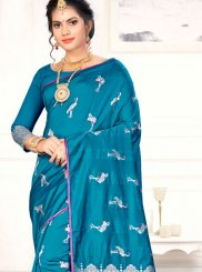 Weaving Blue Designer Traditional Saree