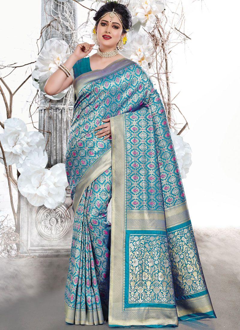 Weaving Blue Traditional Saree