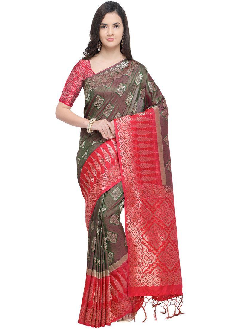 Weaving Brown Traditional Designer Saree