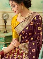 Weaving Brown Traditional Saree