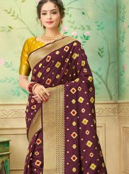 Weaving Brown Traditional Saree