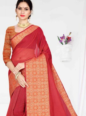 Weaving Cotton Casual Saree in Red