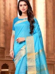 Weaving Cotton Saree in Blue