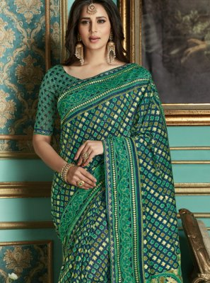 Weaving Cotton Silk Green Designer Traditional Saree