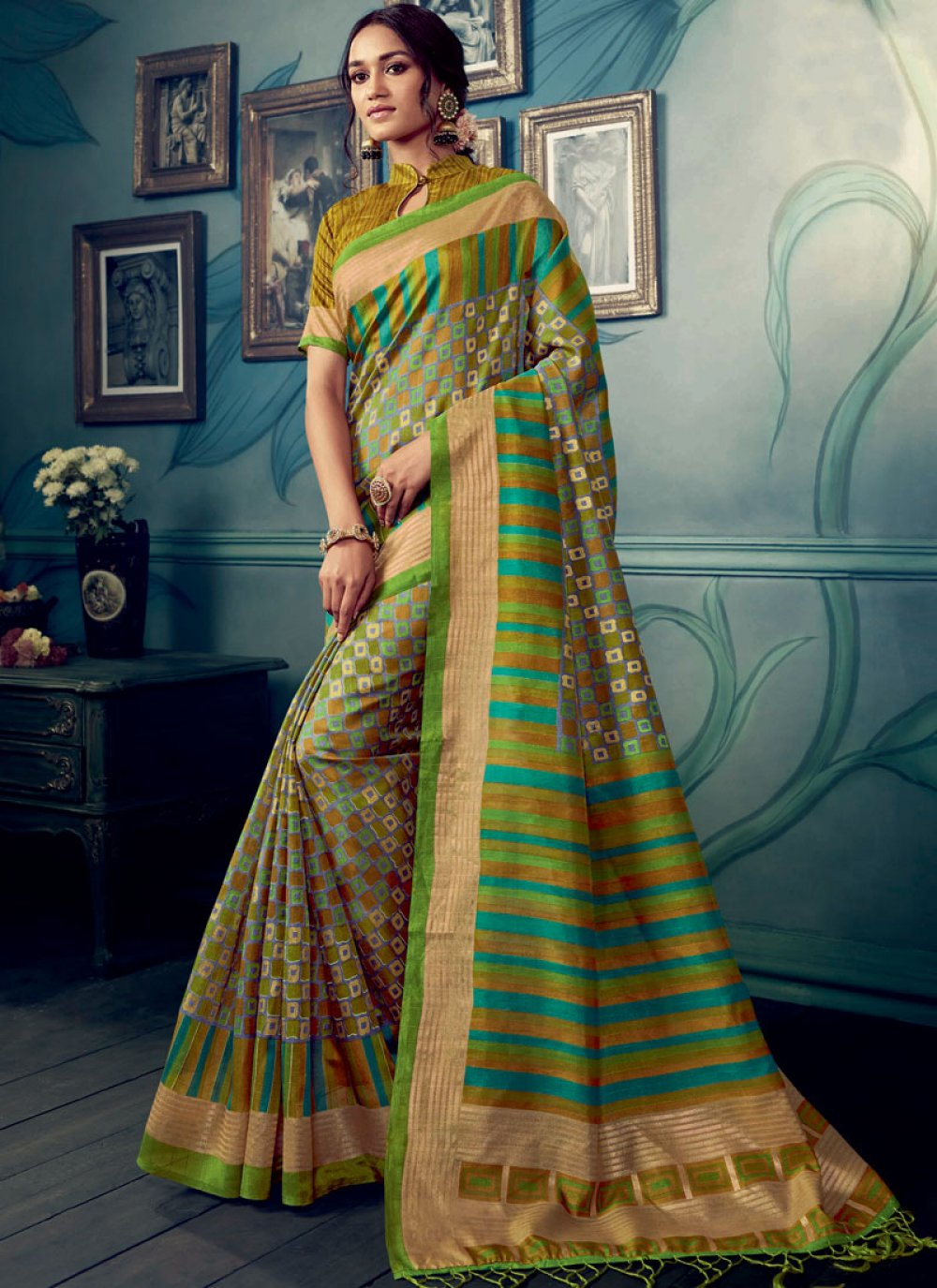 Weaving Cotton Silk Multi Colour Designer Traditional Saree