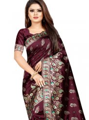 Weaving Cotton Silk Traditional Designer Saree in Wine