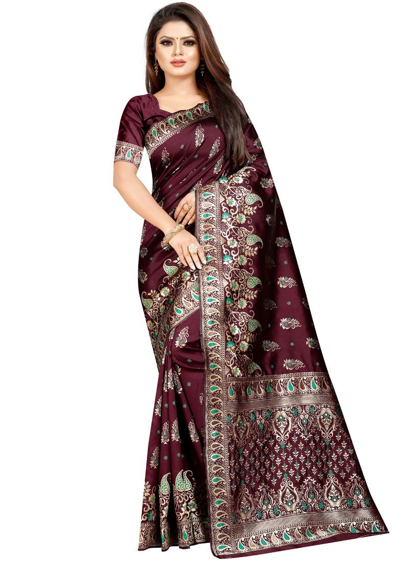 Weaving Cotton Silk Traditional Designer Saree in Wine