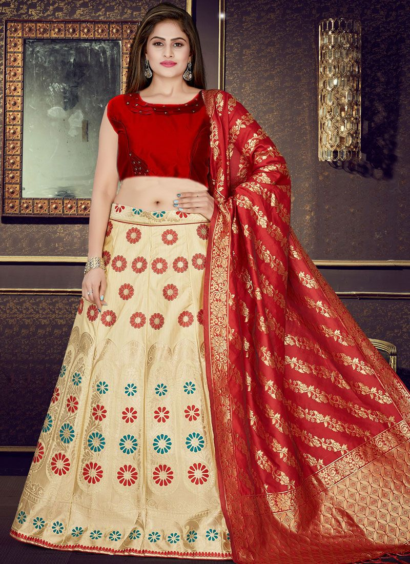 Weaving Cream and Red Readymade Lehenga Choli