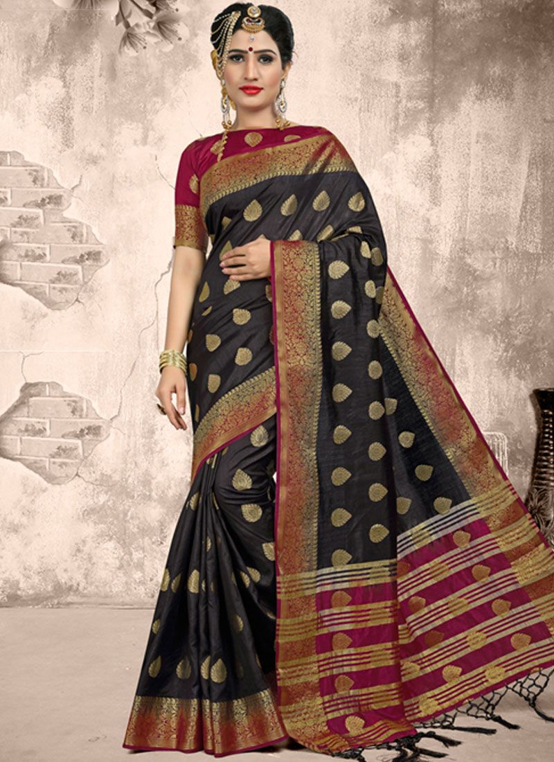 Weaving Fancy Fabric Black Classic Saree