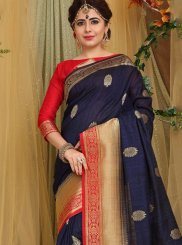 Weaving Fancy Fabric Blue Traditional Designer Saree
