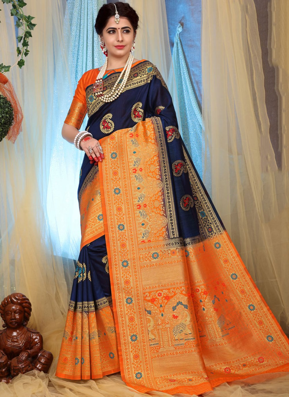 Weaving Fancy Fabric Designer Traditional Saree in Blue