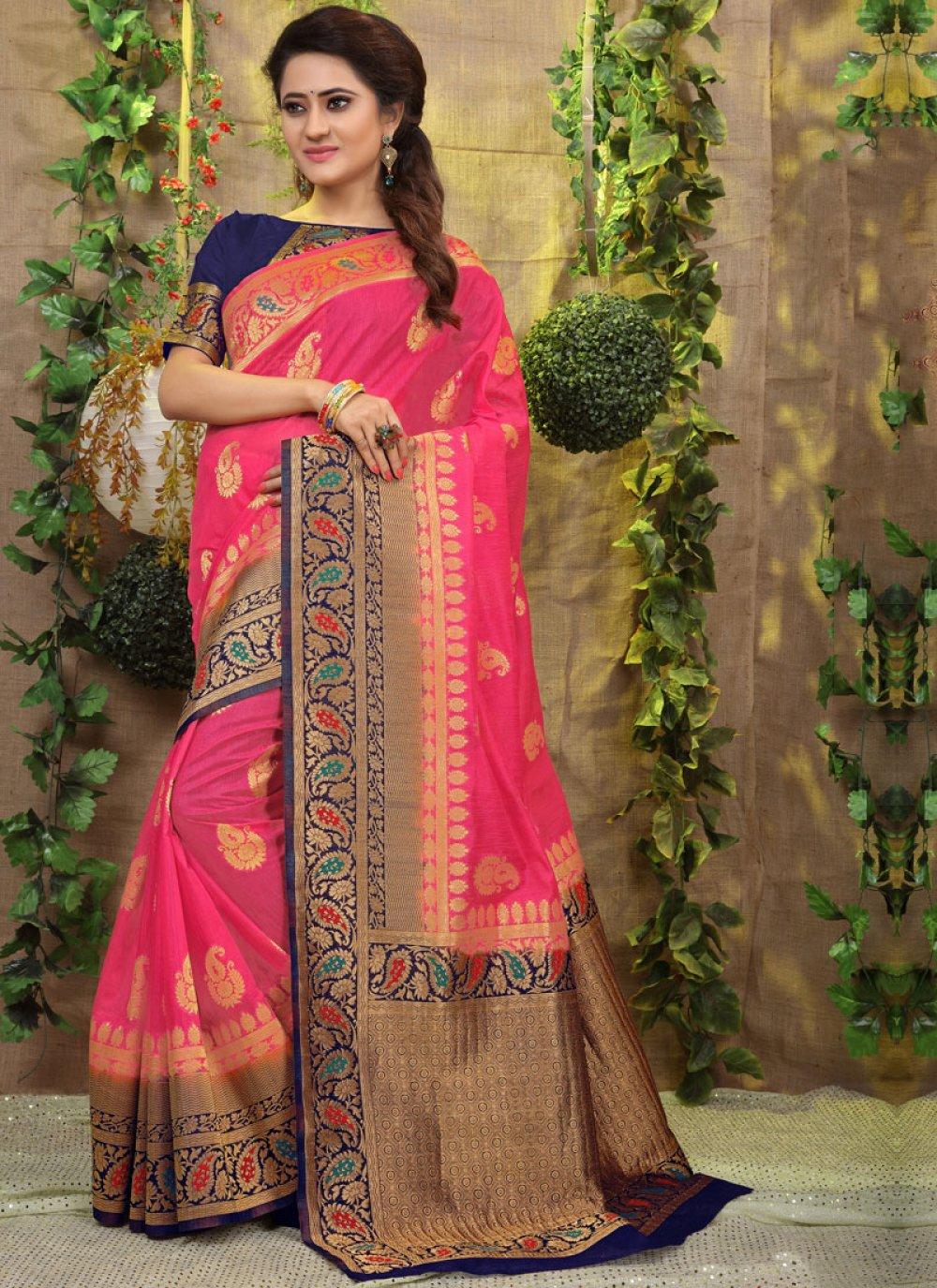 Weaving Fancy Fabric Traditional Designer Saree