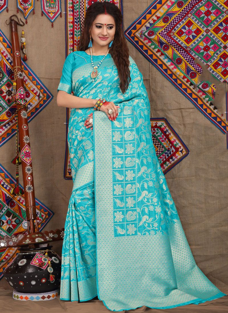 Weaving Fancy Fabric Traditional Designer Saree in Turquoise