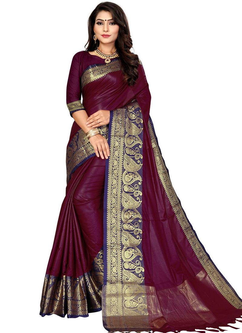Weaving Fancy Fabric Traditional Saree in Wine
