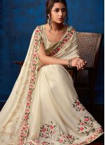 Weaving Faux Georgette Traditional Saree in White