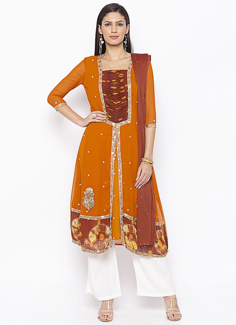 Weaving Georgette Salwar Kameez