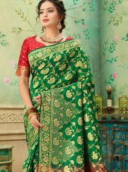 Weaving Green and Red Casual Saree