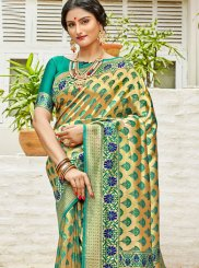 Weaving Green Art Silk Designer Saree