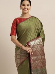 Weaving Green Art Silk Designer Traditional Saree