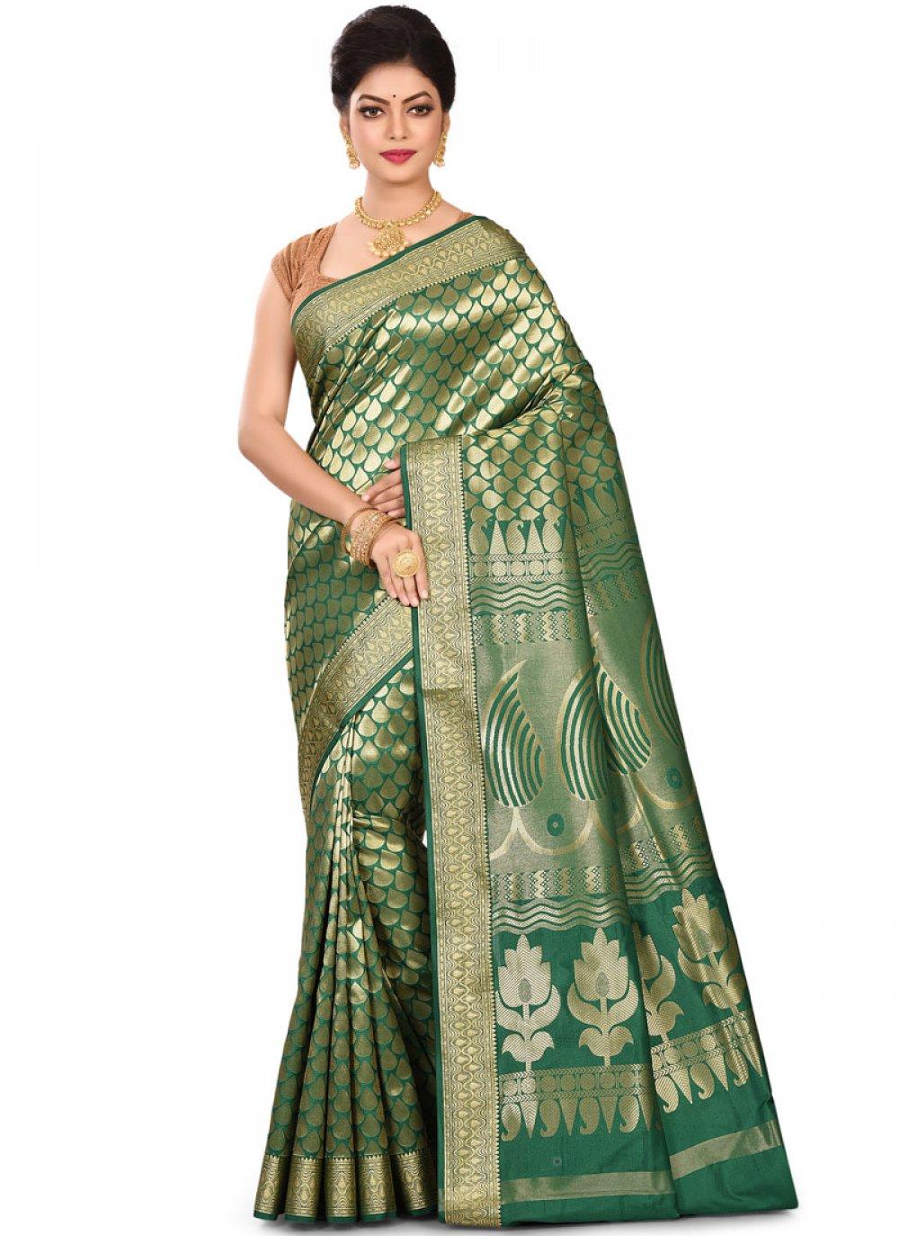Weaving Green Art Silk Traditional Designer Saree