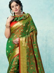 Weaving Green Art Silk Traditional Saree