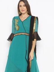 Weaving Green Georgette Designer Kurti