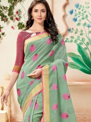 Weaving Green Linen Trendy Saree